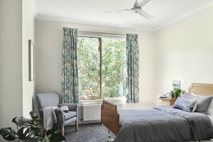 Bedroom with pot plants at Japara Anglesea aged care home