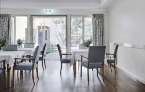 Table sets in dining room at Japara Anglesea aged care home