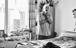 Elderly male resident standing in bedroom at Japara Anglesea aged care home