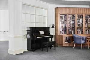 Close up of piano in common living room at Japara Anglesea aged care home