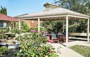 Gazebo in garden at Japara Scottvale aged care home