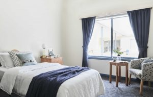 Bedroom at Japara Elouera aged care home with big window