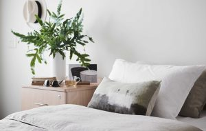 Close up of bedroom at Japara Elouera aged care home with pot plant