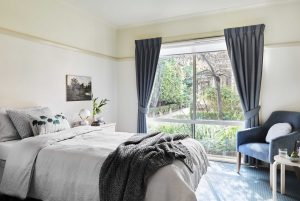 Bedroom with garden view at Japara Yarra West aged care home
