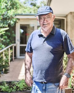 Smiling elderly male resident at Japara Yarra West aged care home