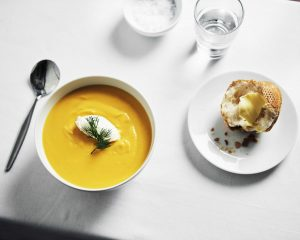 Close up of pumpkin soup meal at Japara Yarra West aged care home