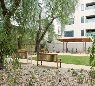 Ground floor garden at Japara Central Park aged care home