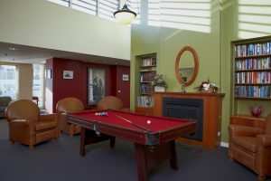 Living room with billiard table at Japara Barongarook Gardens aged care home