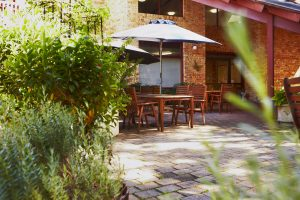 Rear courtyard at Japara Bayview Gardens aged care home