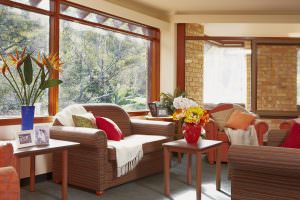 Living room with outside view at Japara Bayview Gardens aged care home