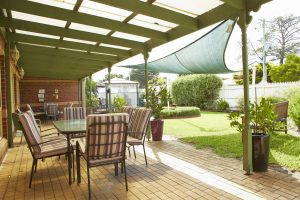 Rear courtyard at Japara Capel Sands aged care home
