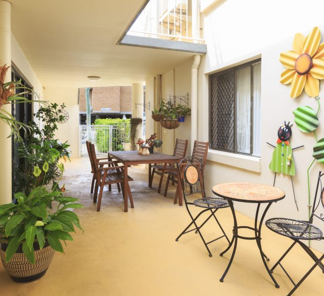 Courtyard at Japara Coffs Harbour aged care home
