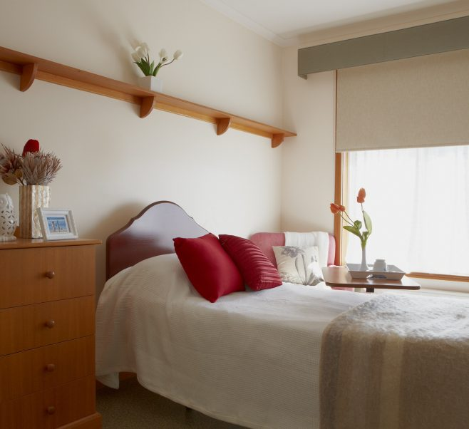 Bedroom at Japara Kelaston aged care home