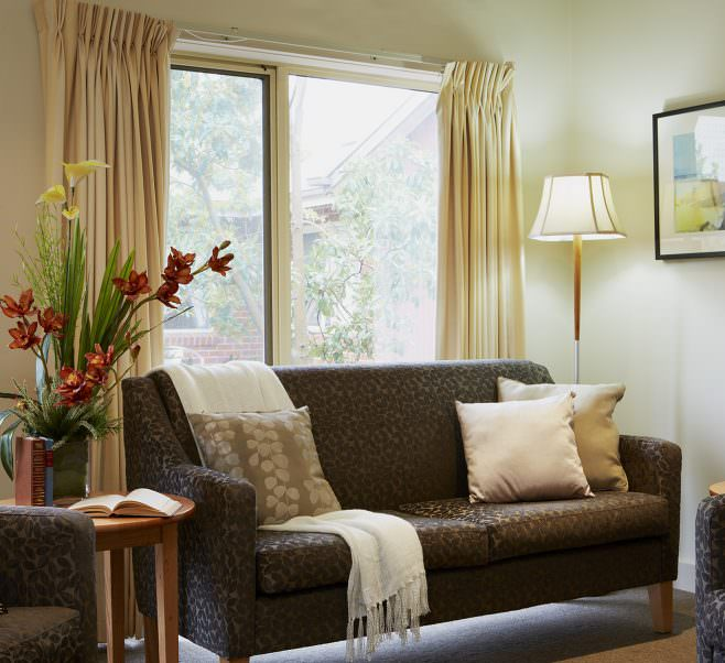 Living room at Japara Kingston Gardens aged care home