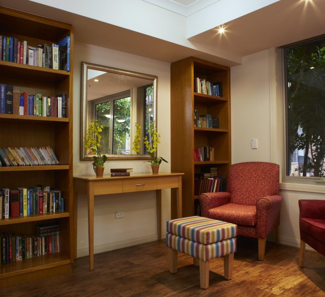 Library at Japara Lower Plenty aged care home
