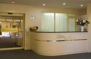 Reception desk at Japara Oaklands aged care home