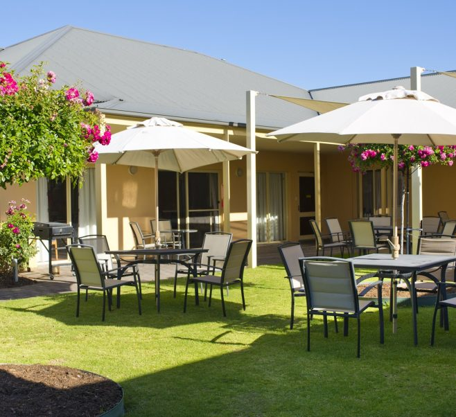 Rear courtyard at Japara Oaklands aged care home