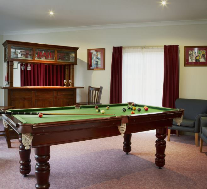 Billiard room at Japara Roccoco aged care home