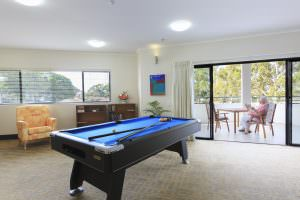 Billiard room at Japara South West Rocks aged care home