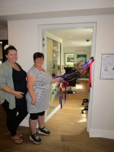 Japara hairdressers Katie and Catrina pose in front of their new salon
