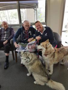 Huskies playing with residents at Lower Plenty Garden Views
