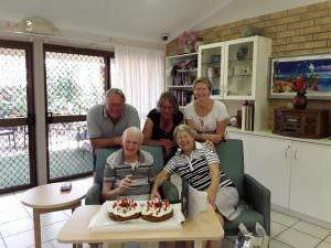 A family gathered together to celebrate the birthday of one of the residents