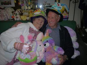 Resident and easter bunny laugh and smile