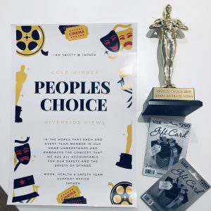 the people's choice award certificate with a little trophy