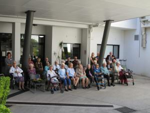 Residents gathered together for an Anzac day ceremony