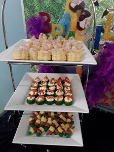 Tiers containing Auatralia-themed canapes