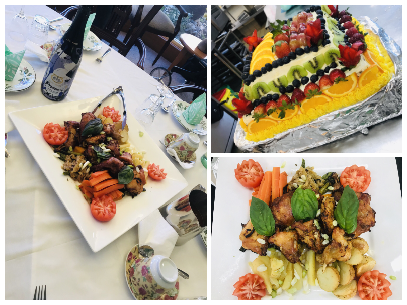 Collage of food dishes: Roast rabbit with new potatoes and roasted vegetables, and a sponge cake with butter frosting and decorated in fresh fruit,