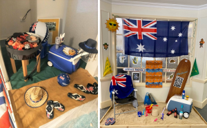 Australian flags, barbecues, and beach items