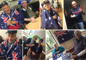 Elderly people wearing Australia flags and celebrating Australia Day