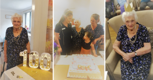 Birthday celebrations at Japara; Elderly lady poses behind 100-shaped light display; Three ladies and a young girl pose for a photo behind a large white birthday cake; Elderly lady in dark blue dress sitting in an armchair wearing a golden crown