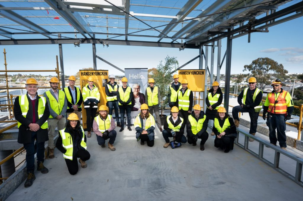 Japara and the Hansen Yucken teams at the topping out ceremony in Newport