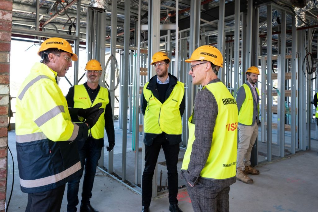 Japara's senior team taking a tour of the Japara Newport construction project