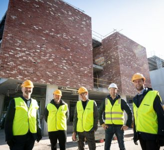 The Japara senior team outside new development Japara Newport aged care home