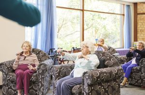 Elderly women sitting down doing arm exercises with weights