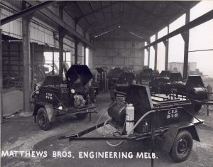 Old dray wagons for transporting construction equipment