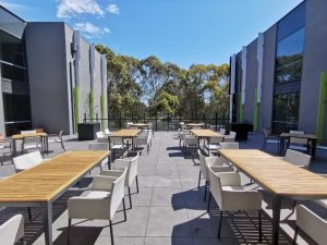 Outdoor seating area with view